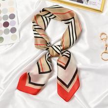 New 70x70cm Women Multifunction Polyester Silk Scarf Elegant Stripes Printed Casual Satin Small Square Wraps Scarves Shawl