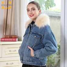 LEIJIJEANS Winter new large size women's ladies denim jacket fashion big fur collar warm plus velvet casual denim ladies jacket(China)