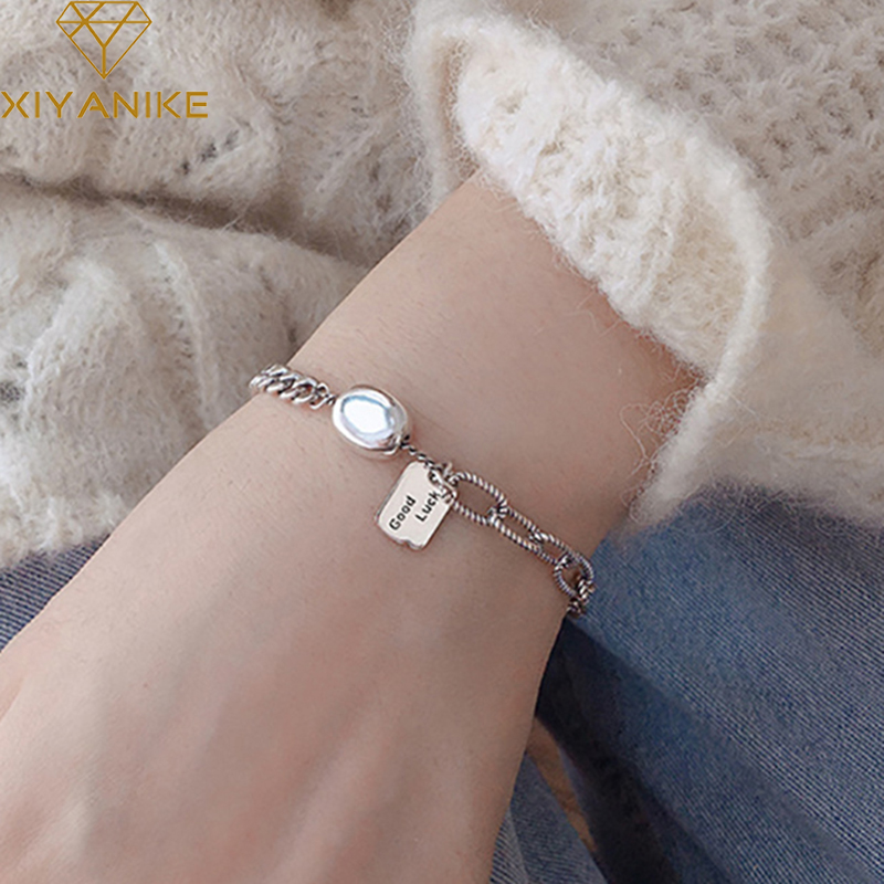 XIYANIKE 925 Sterling Silver Thai Silver Bracelet  For Women Couple Vintage Punk Design Lucky Letter Tag Party Jewelry Adjustabl