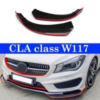 Front Bumper Guard Corner lip Splitter Flap Canard Red Edge for Benz CLA class W117 M sport CLA45 2013 16