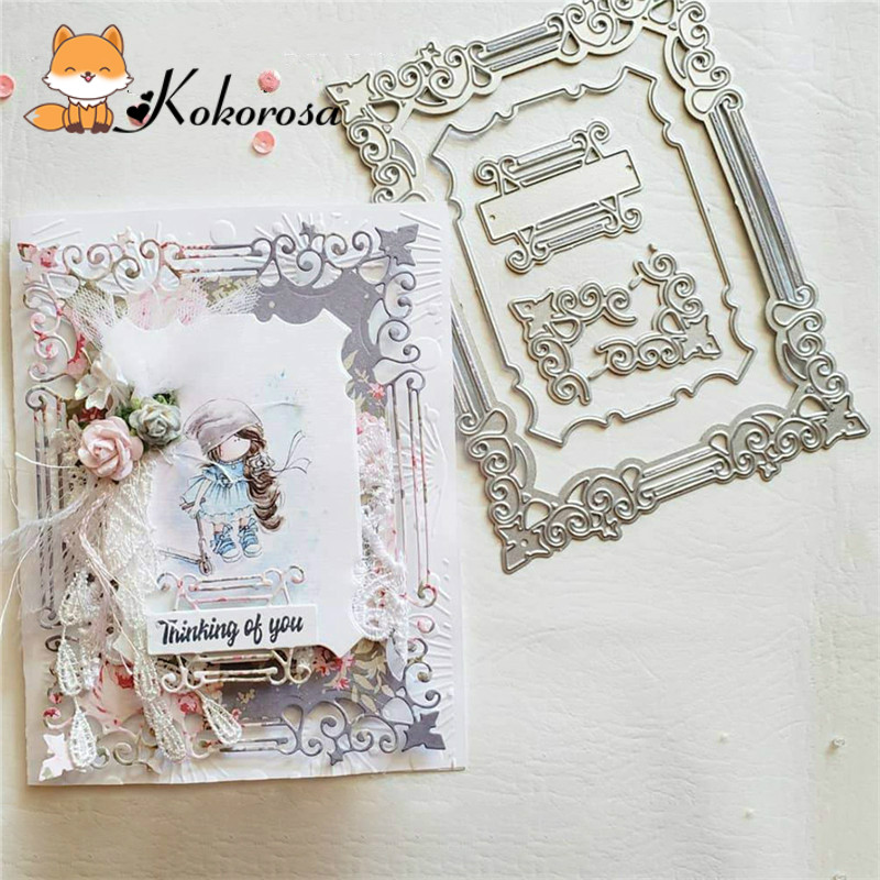Kokorosa Cutting Dies Metal Dies Layer Frame Set Die Scrapbooking Album Card Making Embossing Stencil Diecuts Decoration