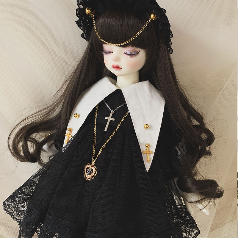 Doll Clothes 1/6 1/4 Doll Dress Black Lace Dress With Hat For 1/6 1/4 BJD SD Doll 1/6 Blyth Doll Accessories Only Clothes
