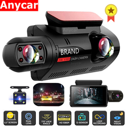 FHD Car DVR Camera Dash Cam Dual Record Hidden Video Recorder Dash Camera 1080P Night Vision Parking Monitoring G-sensor DashCam