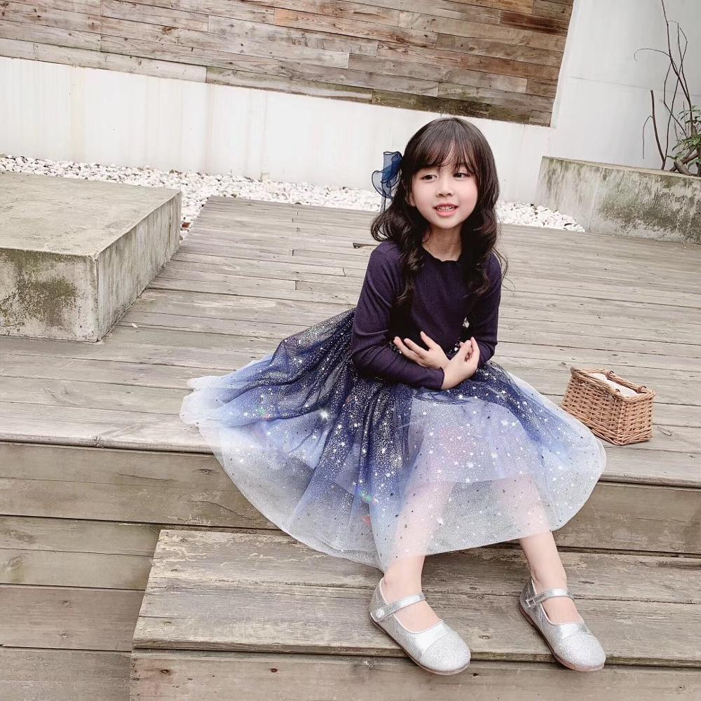 2019 automne filles robes à manches longues brillant étoile motif bébé filles robe