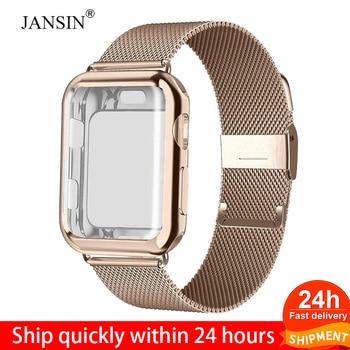 Bracelet à boucle milanaise avec étui pour montre Apple série 5/4/3/2 38mm 42mm 40mm 44mm Bracelet en acier inoxydable Bracelet pour iwatch
