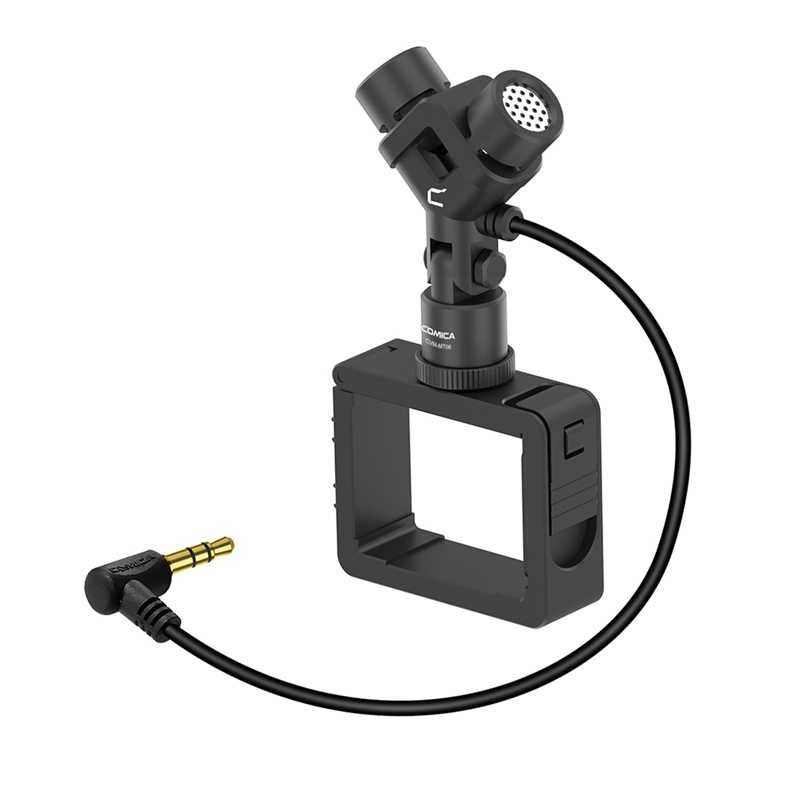 Comica CVM-MT06 Motion Microphone XY Stereo Dual-Mic Cardioid Condenser Action Camera Video Mic for DJI Osmo Pocket (3.5MM TRS)
