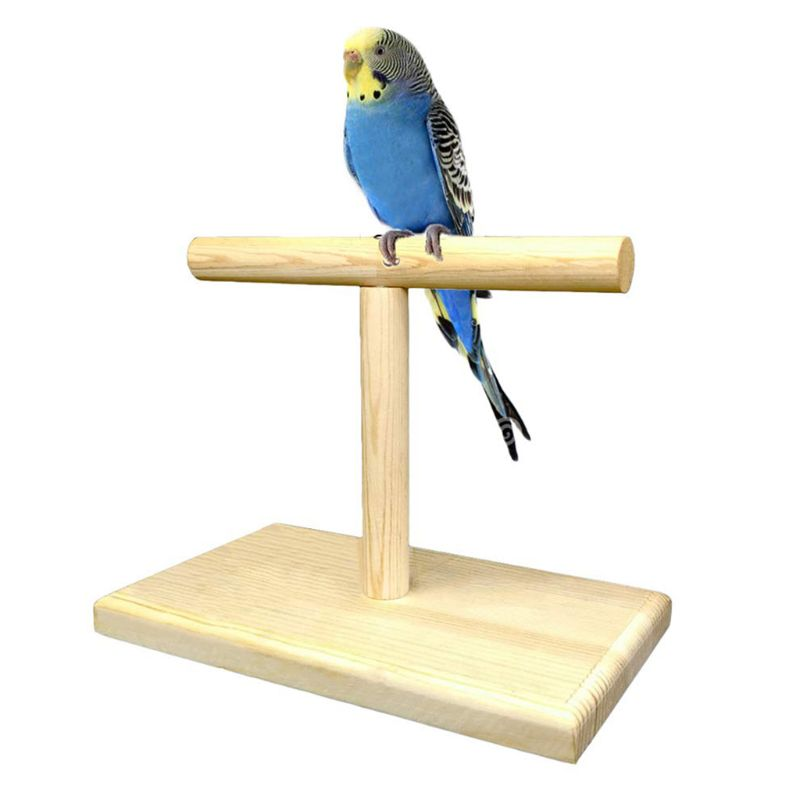 Portable Wooden Pet Parrot Training Rotation Perched Stand Platform Birds Paw Grinding Toys