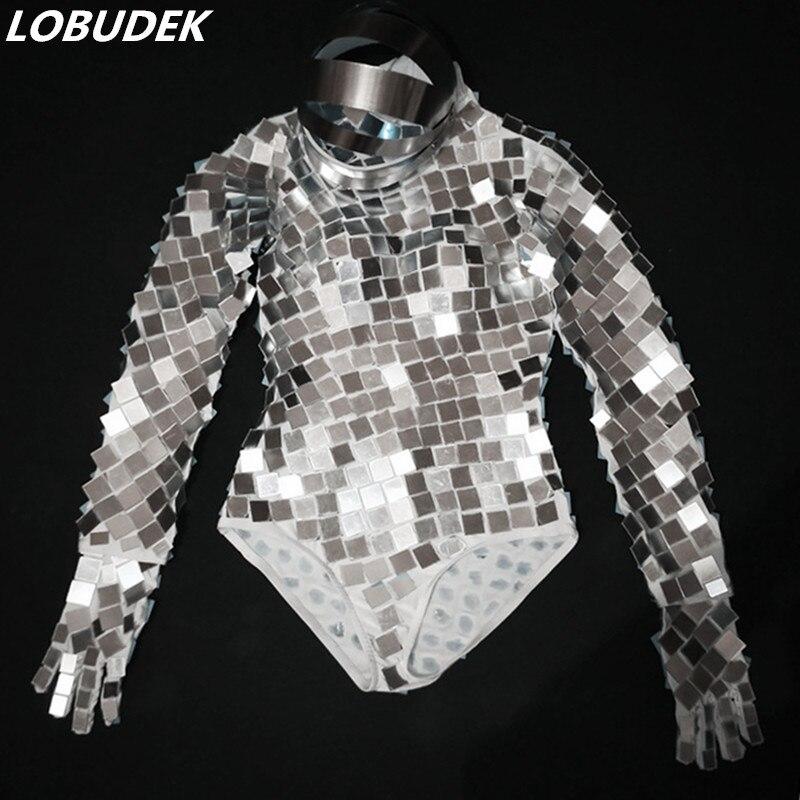 Women DJ Dancer Team Space Dance Mirror Bodysuit Machine Dance Costume Silver Sequins Bodysuit+Gloves+Headgear Jazz Stage Outfit