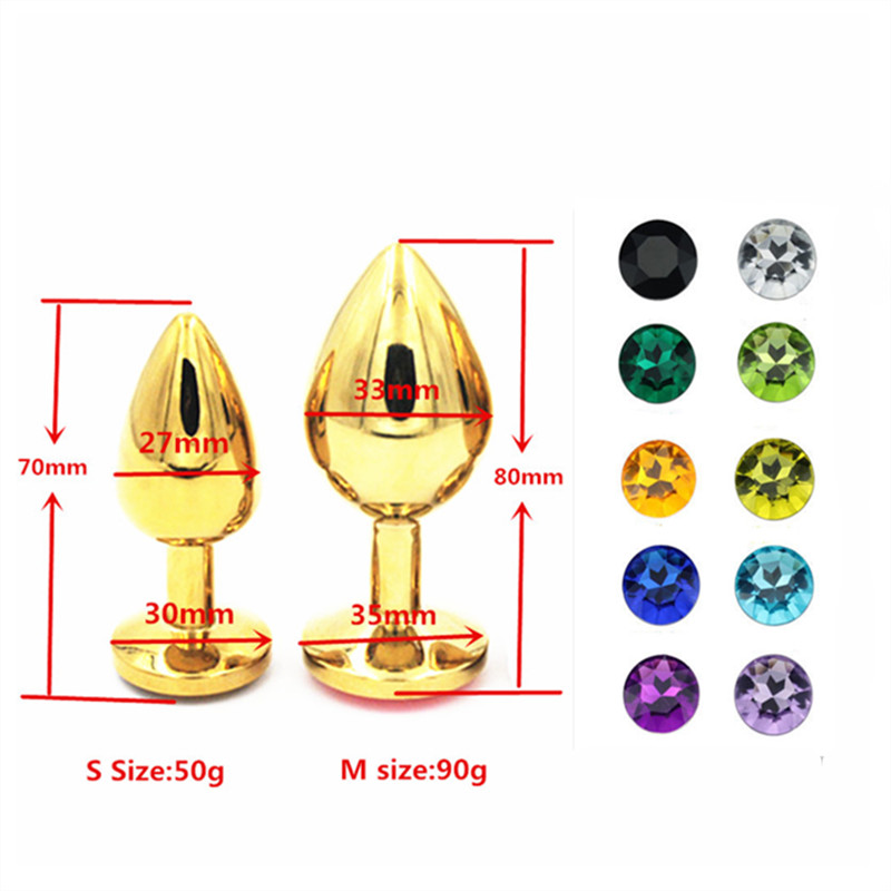 Stainless Steel Gold Color Anal Beads Crystal Jewelry Ass Butt Plug Stimulator Sex Toys For Women Men Dildo Anal Plug Hot Sale
