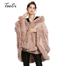 цена на Faux Fur Coat Spring and Autumn new Fashion large size Faux fox fur collar fur hooded knitted cardigan shawl cape coat
