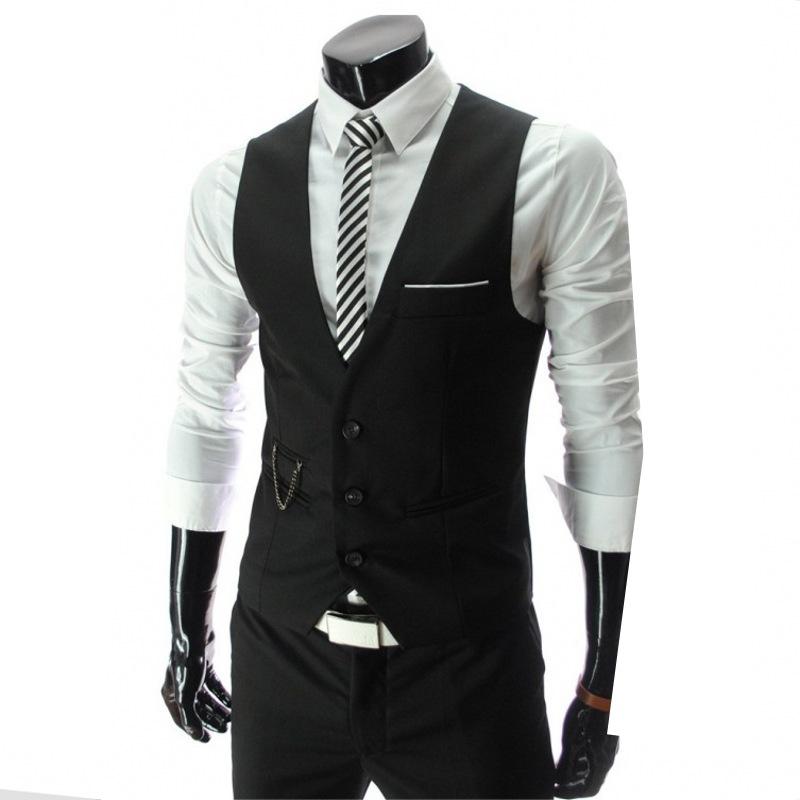 2021 New Arrival Dress Vests For Men Slim Fit Mens Suit Vest Male Waistcoat Gilet Homme Casual Sleeveless Formal Business Jacket
