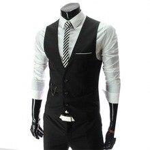 Vests Dress Waistcoat Gilet Business-Jacket Mens Sleeveless Formal Male Casual Slim-Fit