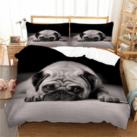 3D Pug Dog Bedding Set Cute Animal Duvet Cover Twin queen king size Bed linen 3 Piece Bedclothes 3pcs dropshipping