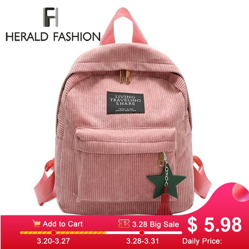 Herald Fashion Women Backpack With Tassel Quality Corduroy School Bags Preppy Style Student Bag For Girl Travel Backpack Mochila