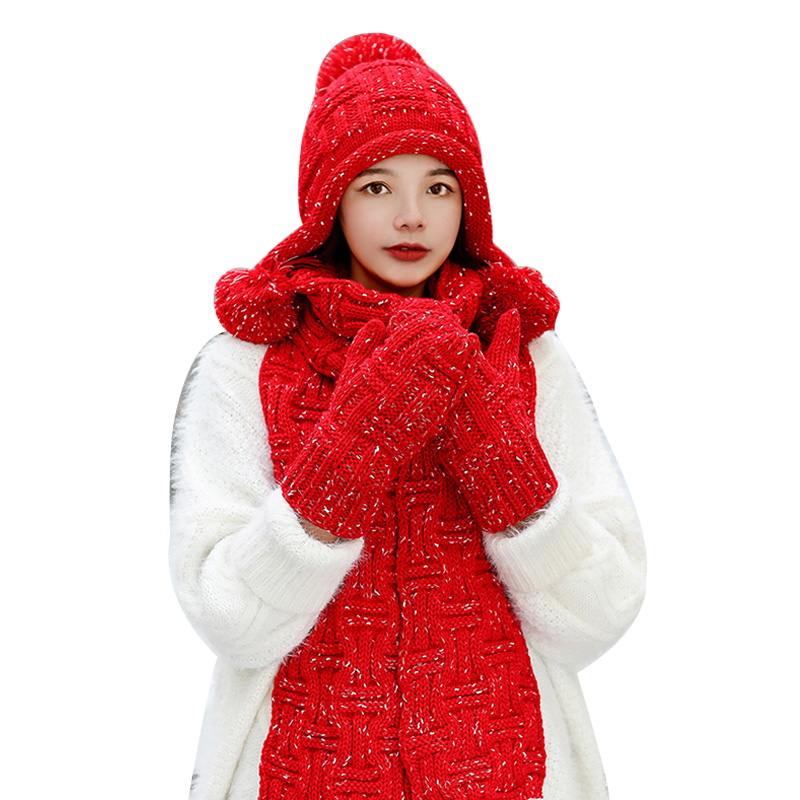 3/set Hat Scarf Gloves Winter Thick Knit Warm Women's Shawl Scarf Female Gloves Pompom Beanies Plus Velvet Cap Muffler Mitten