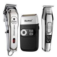 Kit macchina per rasatura taglio di capelli ricaricabile tagliacapelli elettrico professionale Kemei tutto in metallo KM 1996/2026/5027/2024