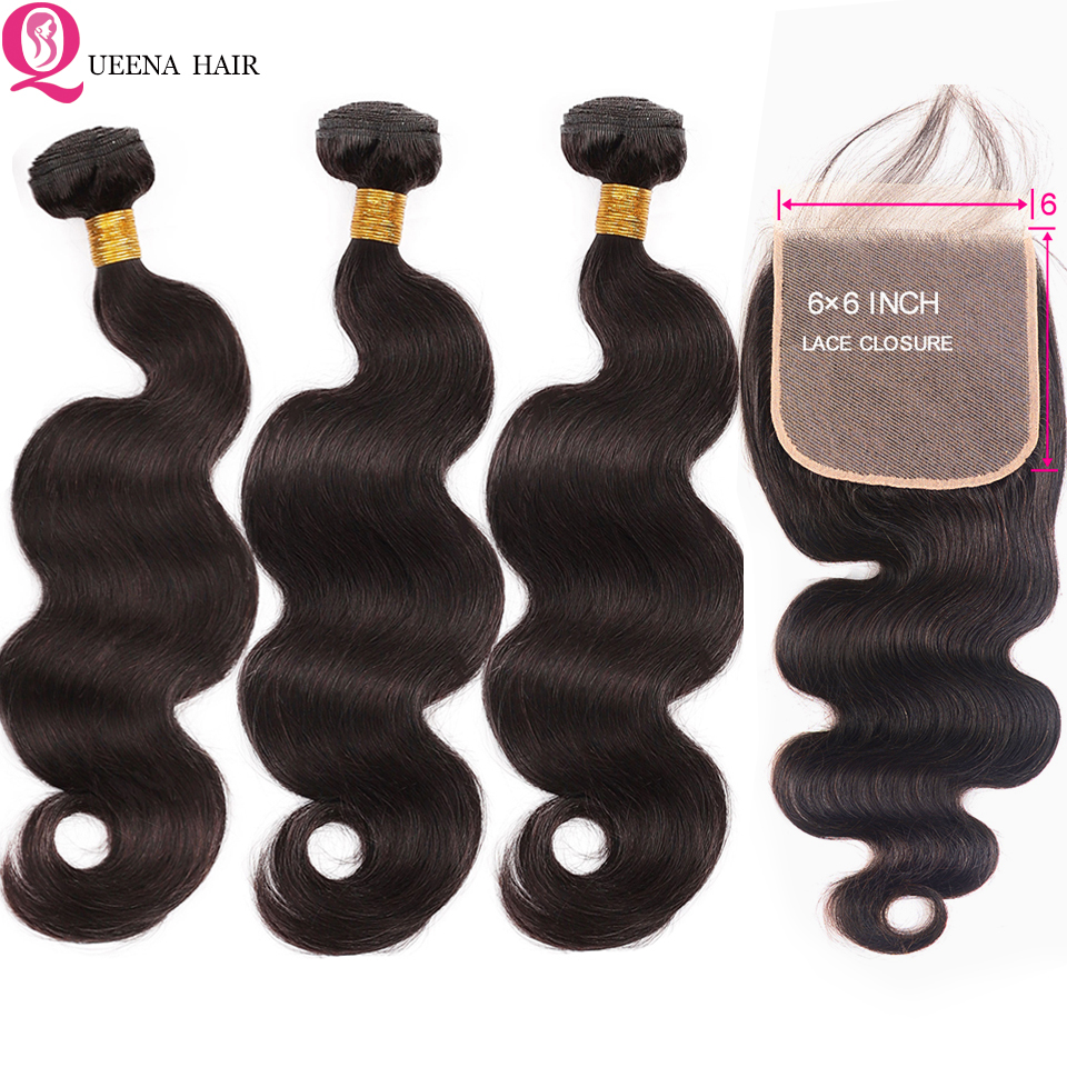 6x6 Peruvian Body Wave Bundles With Closure Pre Plucked 4x4 Transparent Lace Closure And 3 Bundles Remy Human Hair Extension