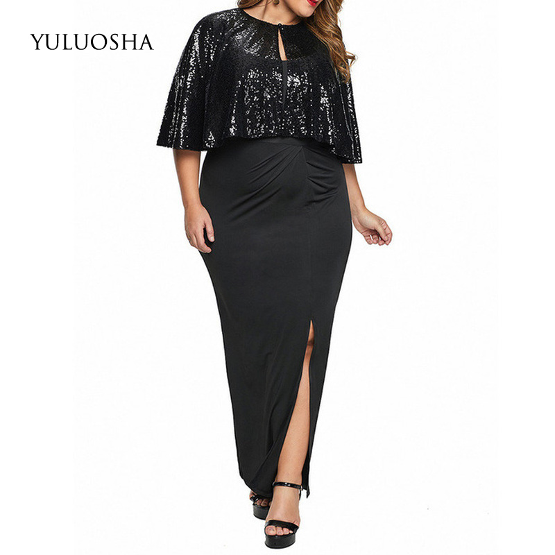 YULUOSHA Plus Size Mothers Dresses For Wedding Sequined Vintage Elegant Evening Dress Sexy Rhinestone Dress Vestidos Madre Novia