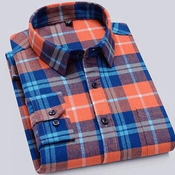 100% Cotton Flannel Men Plaid Long Sleeve Shirt's Men's Casual Long Sleeve Shirt Soft and Comfortable  shirts for men autumn plaid mens shirt flannel shirt men plaid brown men shirt oversized winter shirts for men 100