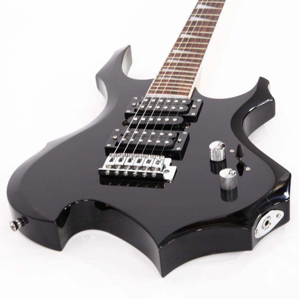 Profissional Conjunto Guitarra Elétrica Chama + Áudio + Bag + Strap + Pega + Agitar + Cabo + Wrench Ferramenta preto - 5