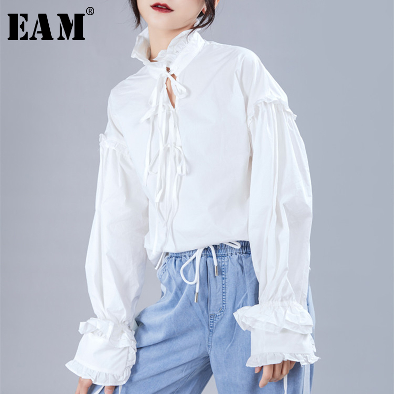 [EAM] Women White Bow Bandage Ruffles Pleated Blouse New Stand Collar  Puff Sleeve Loose Fit Shirt Fashion Spring Autumn 1A330