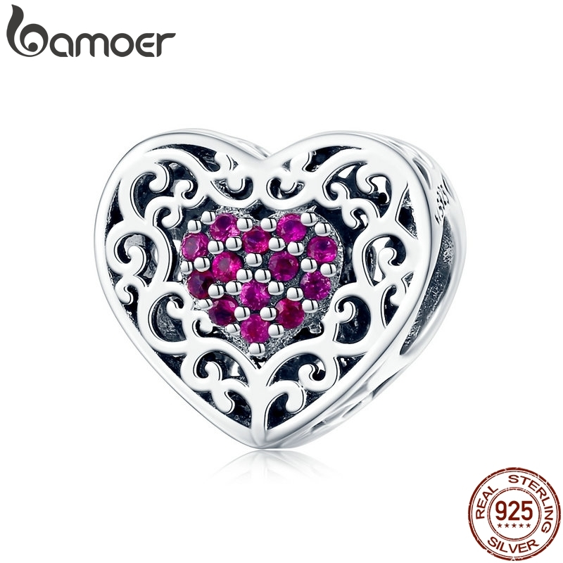 BAMOER Original 925 Sterling Silver Vintage Heart Shape Love Beads Fit Charms Bracelet Jewelry Mother's Day GIFT SCC1109(China)
