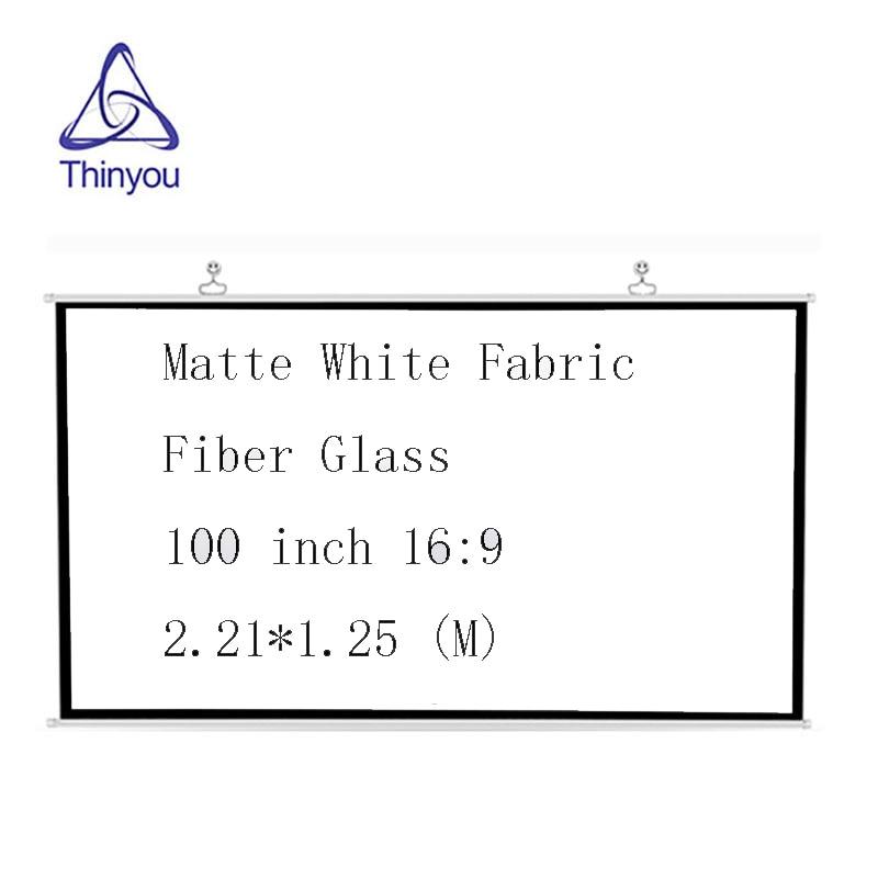 Pantalla de proyector Thinyou de 100 pulgadas, 16:9, tela blanca mate, fibra de vidrio, cortina montada para pared, cine en casa o reunión de negocios
