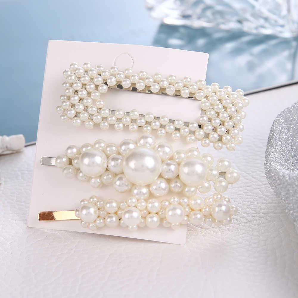 Trendy Perle Haar Clips Set Für Mädchen Frauen Geometrische Haarspange Haar Zubehör Shell Haarnadeln Set Weibliche Hochzeit Schmuck