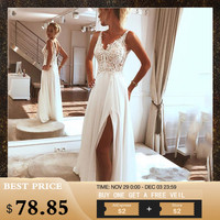 LORIE Beach Wedding Dress 2019 Side Split Top Lace Boho Bride Dress Sexy Appliques Wedding Gown Custom Made vestido de