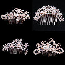 Carddoor New Fashion Rhinestone Rose Blond Hair Comb Headdress Jewelry Rhinestone Pearl Flower Handmade Wedding Hair Accessories