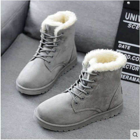 Autumn and winter plus velvet thick snow boots cotton shoes boots women's shoes flat with students short tube with Martin boots