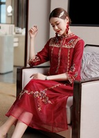 Chinese silk lady embroidery vintage red party dress modern lace Qipao