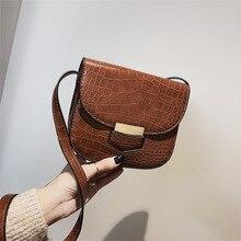 Bag woman pu skin solid color single shoulder saddle bag crocodile pattern fashion tide oblique span small
