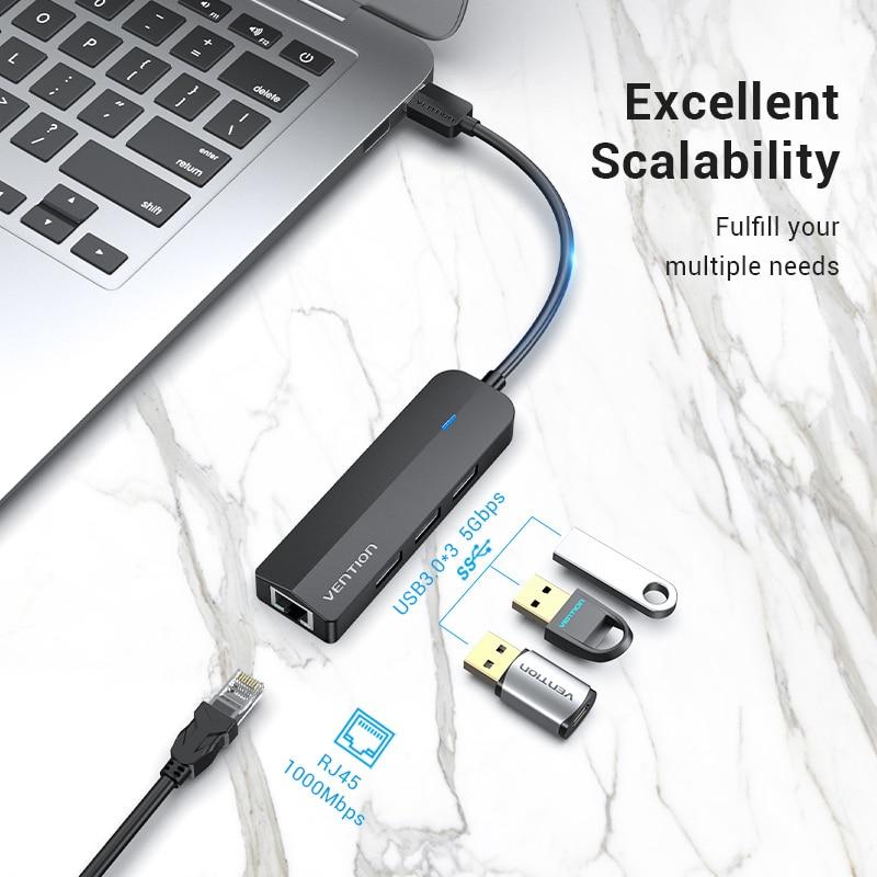 Vention USB Ethernet Adapter USB 3.0 2.0 to RJ45 Gigabit Ethernet with Micro USB Charger Port for Network Hard Disk Ethernet HUB 3