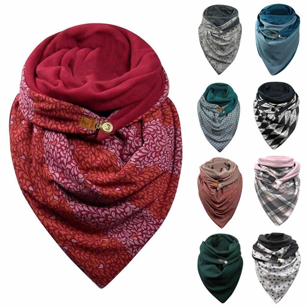 الأوشحة الدافئة للنساء زر الطباعة لينة التفاف شالات عادية 2020 المرأة ماليزيا القطن وشاح الحرارية Sciarpa di velo