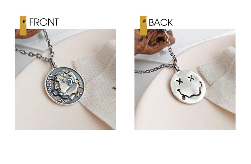 Hc410a2067fab4437b250e41729a0ee19b - F.I.N.S Retro Old Portrait Smile Face S925 Sterling Silver Necklace Double Side Coin Tag Necklace Pendant Vintage Chain Ornament