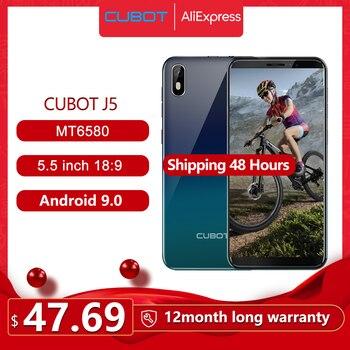 Перейти на Алиэкспресс и купить Cubot J5 смартфон 5,5 дюйм18:9 полный Экран MT6580 Quad-Core Android 9,0 телефон 2 Гб Оперативная память 16 Гб Встроенная память Dual SIM карта
