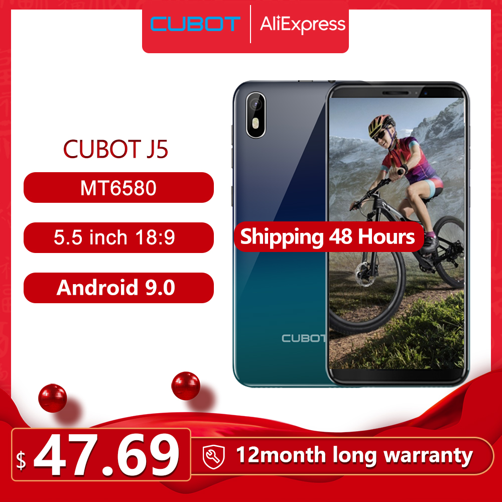 "Cubot J5 Smartphone 5.5"" 18:9 Full Screen MT6580 Quad-Core Android 9.0 Telephone 2GB RAM 16GB ROM Phone Dual SIM Card 2800mAh 3G"