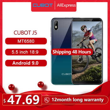 """Cubot J5 Smartphone 5.5 """"18:9 plein écran MT6580 Quad-Core Android 9.0 téléphone 2GB RAM 16GB ROM téléphone double carte SIM 2800mAh 3G"""