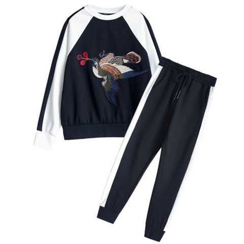 Autumn Clothing Korean-style CHIC Embroidered Hoodie Harem Pants Leisure Sports Suit WOMEN'S Hoodie Large Size Two-Piece Set