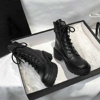 Jesienne buty krótkie buty damskie czarne buty wodoodporne buty z grubej podeszwy skórzane buty gumowe buty buty na zamek kobiet tanie i dobre opinie KINGBOOK Kwadratowy obcas Jeździeckie PRAWDZIWA SKÓRA Skóra bydlęca CN (pochodzenie) Na wiosnę jesień Połowy łydki