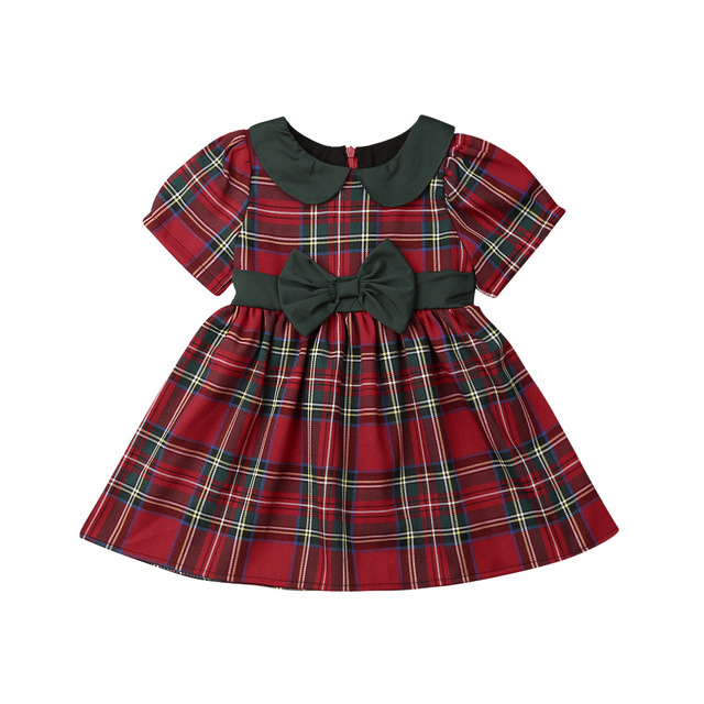 New Kid Baby Girl Plaid Party Pageant Princess Christmas Formal Dress Clothes