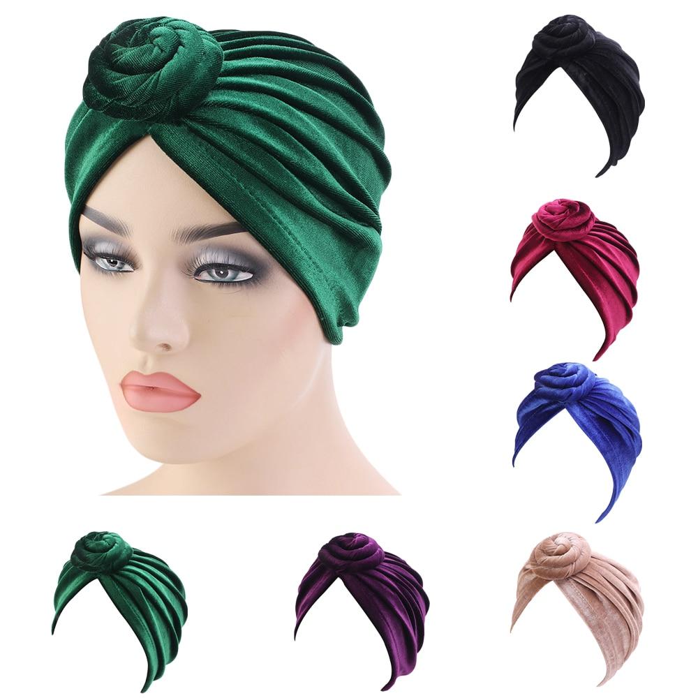 India Women Velvet Turban Hat Hijab Twist Knot Chemo Cap Stretch Beanie Head Wrap Hair Loss Headwear Muslim Cover Bonnet Bonnet