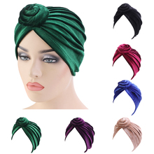 India Women Velvet Turban Twist Knot Chemo Cap Stretch Beanie Head Wrap Hair Loss Headwear Muslim Cover Bonnet Lady Hat Fashion