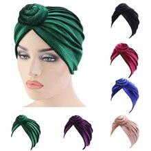 อินเดียผู้หญิง Velvet Turban Twist Knot Chemo หมวกยืดหมวกหัวห่อผม Headwear มุสลิมฝาครอบ Bonnet หมวกผู้หญิงแฟชั่น