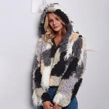 New Shaggy Faux Fur Coat Women Winter Warm Hooded Fur Jacket Streetwear Outwear Overcoat Elegant Fake Fur Hood Coat Pocket