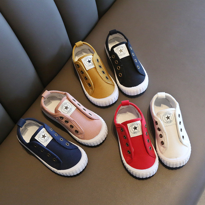 2020 New Spring Children Canvas Shoes Slip On Street Style Casual Student Outdoor Kids Footwear Flat Children's Loafers D03011