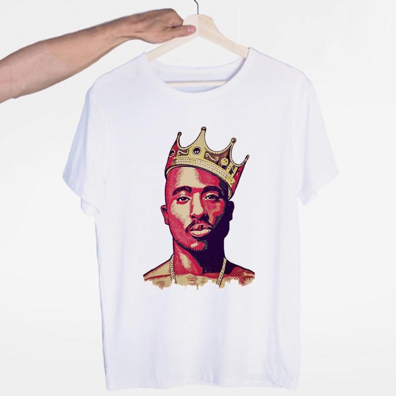 Men's Tupac 2pac Hip Hop Swag Streetwear T-shirt O-Neck Short Sleeves Summer Casual Fashion Unisex Men And Women Tshirt