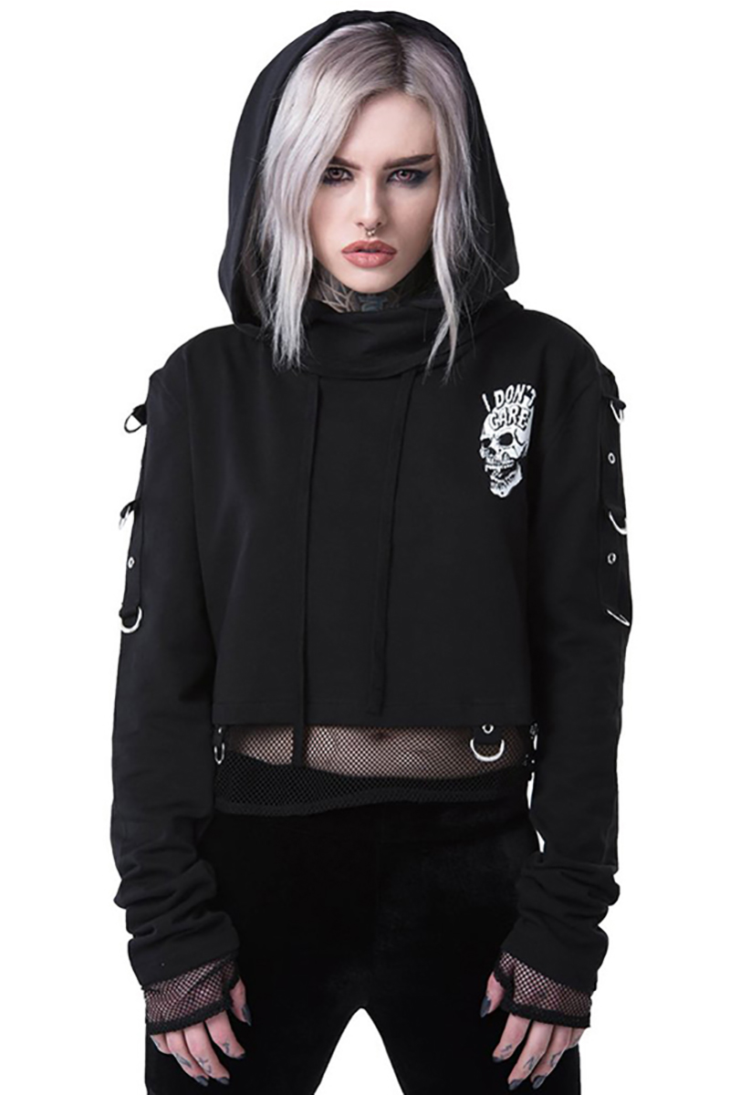 Hc4113204041f492c804476314d09387dp - InsGoth Women Sweatshirts Cropped Hoodies Gothic Skull Printed Black Loose Short Hoodies Mesh Patchwork Female Streetwear Hooded