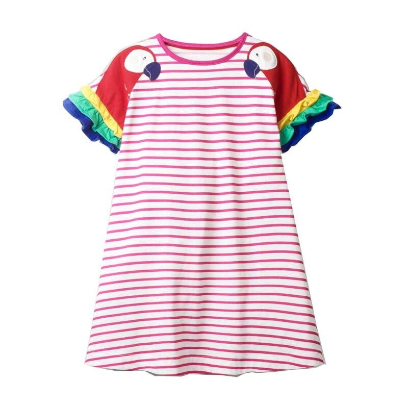 2-8 Years New Girls Dresses 2021 Summer Kids 100% Cotton Children Princess Dress Stripe Printing Clothes 2